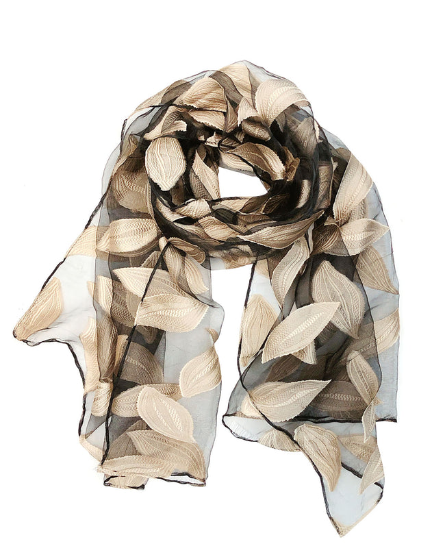 Wrapables® Sheer Silky Feeling Falling Leaves Long Scarf Wrap Shawl