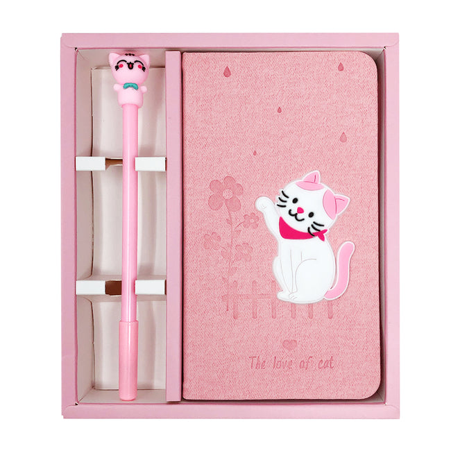 Wrapables Cute Notebook Gel Pen Set, Diary Journal Gift Set, Cat