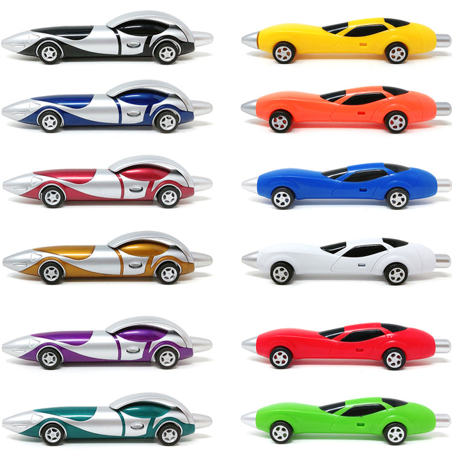 Wrapables Replaceable Ink Gel Pens School Office Supplies (12 pack), Sports Cars
