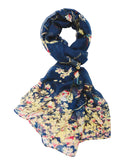 Wrapables Lightweight Vintage Floral Bird Print Long Scarf Wrap