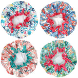 Wrapables® Stylish Double Layer Waterproof Shower Caps (Set of 4)