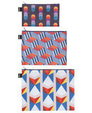 LOQI GEOMETRIC Circles, Stripes, Triangles Zip Pockets