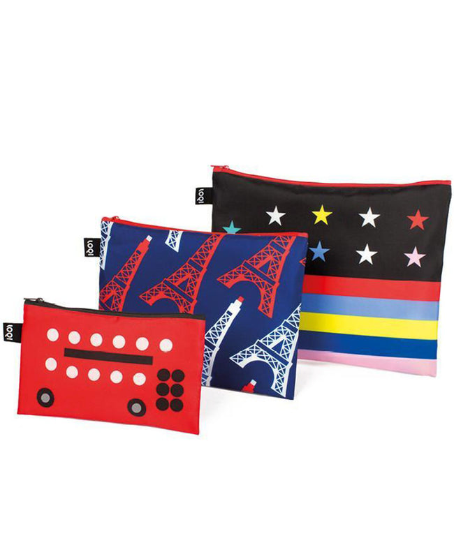 LOQI TRAVEL Bus, Eiffel Tower, Stars & Stripes Zip Pockets
