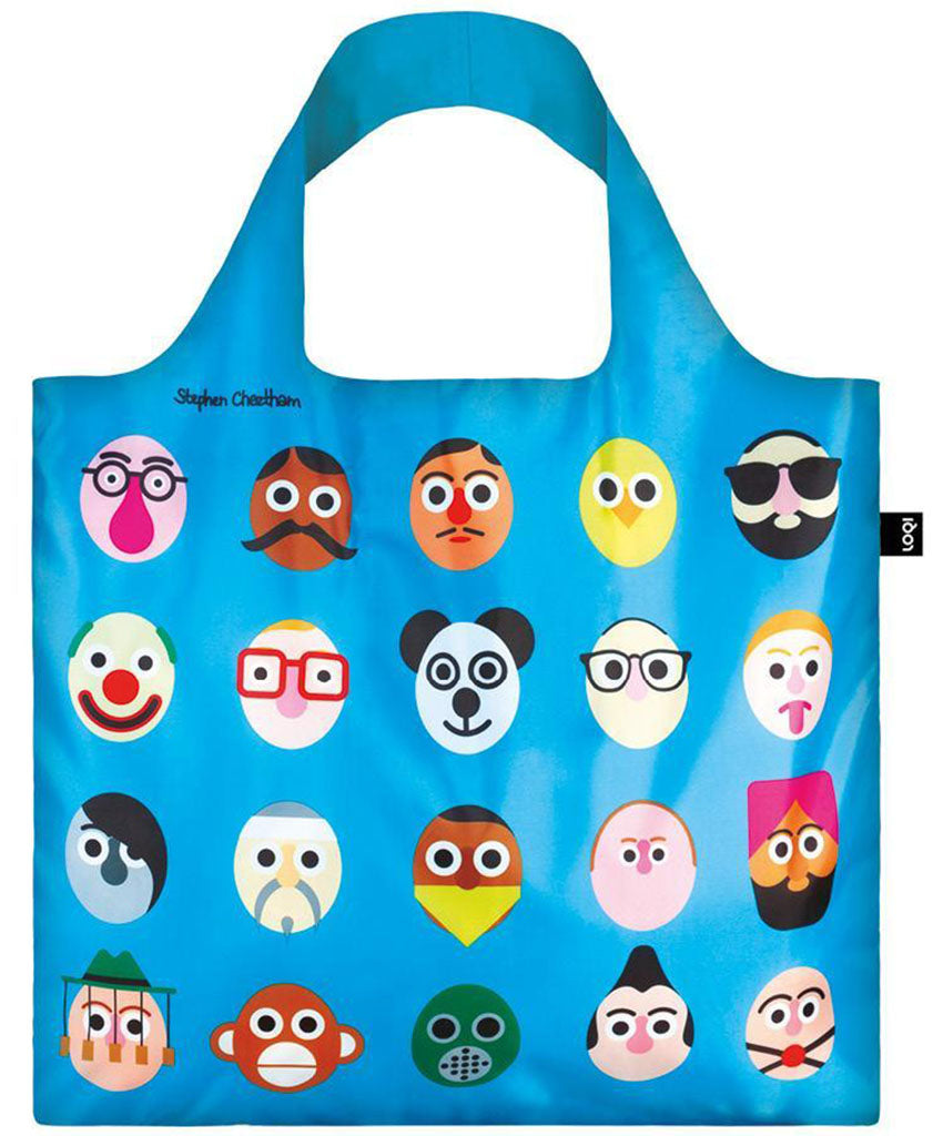 LOQI STEPHEN CHEETHAM Faces Blue Reusable Shopping Bag