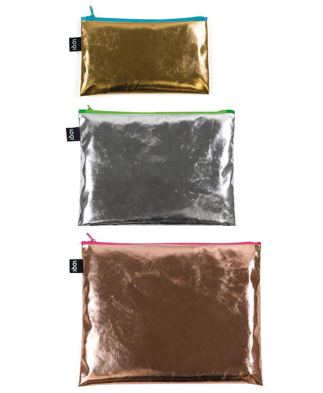 LOQI METALLIC Gold, Silver, Rose Gold, Coloured Zip Pockets
