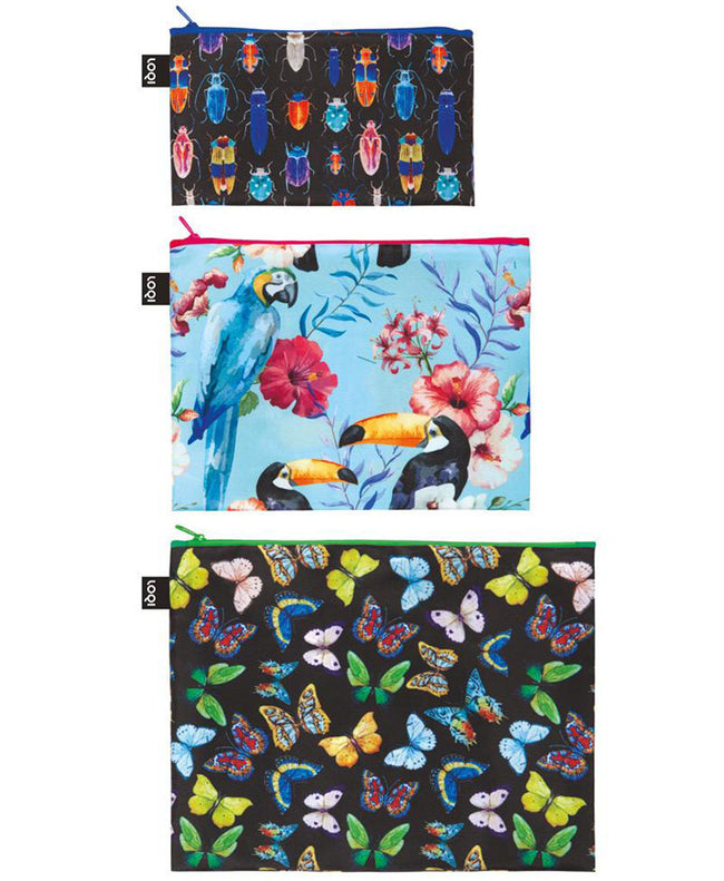 LOQI WILD Insects, Bird, Butterflies Zip Pockets