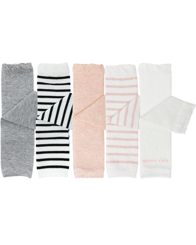 Wrapables Solids and Stripes Baby Leg Warmers, Set of 5, Pinks