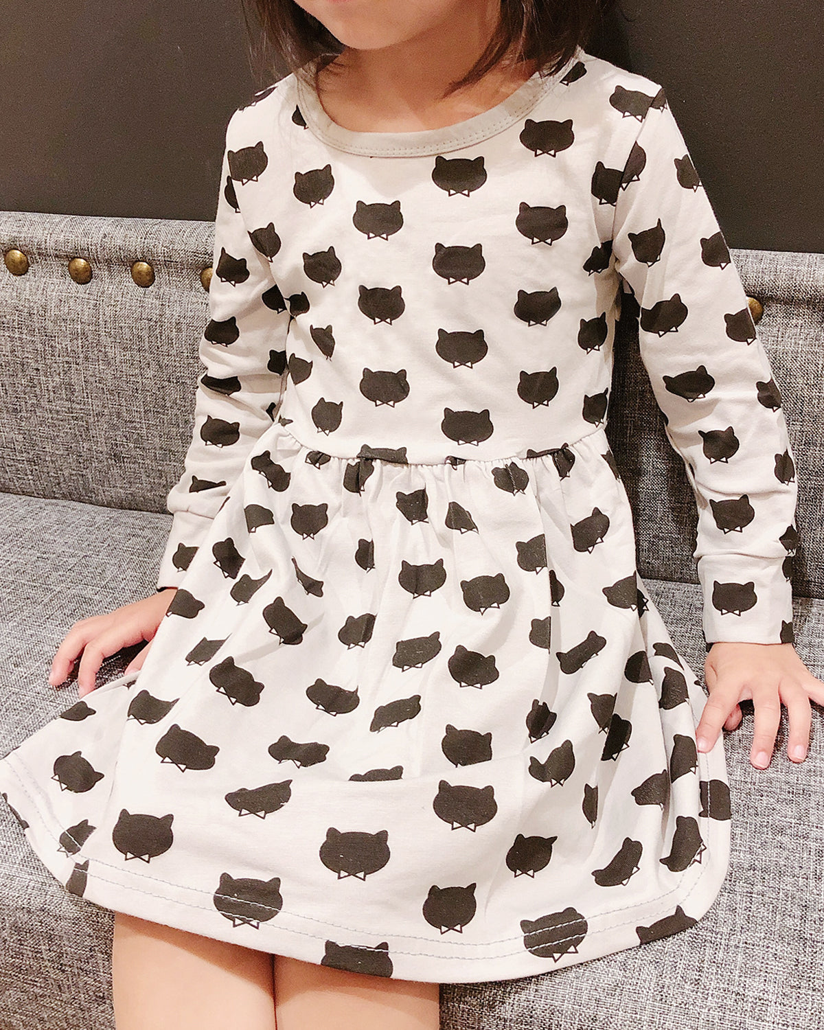Wrapables Girls Casual Long Sleeved Cats Dress