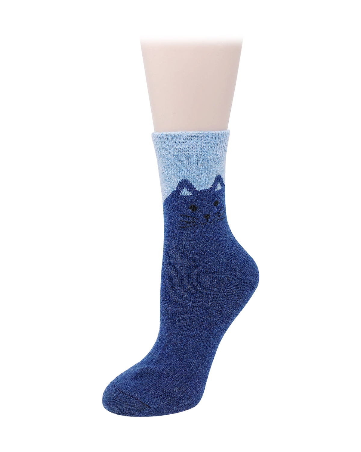 Wrapables Women's Thick Winter Warm Cat Print Wool Socks (Set of 5)