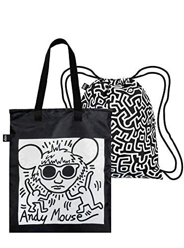 LOQI Museum Keith Haring's Andy Mouse & Untitled Duo Backpack