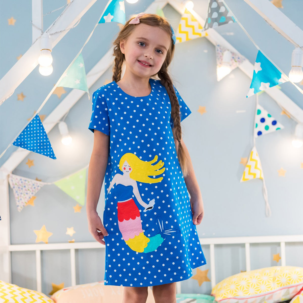 Wrapables Girls Casual Print Cotton Dress