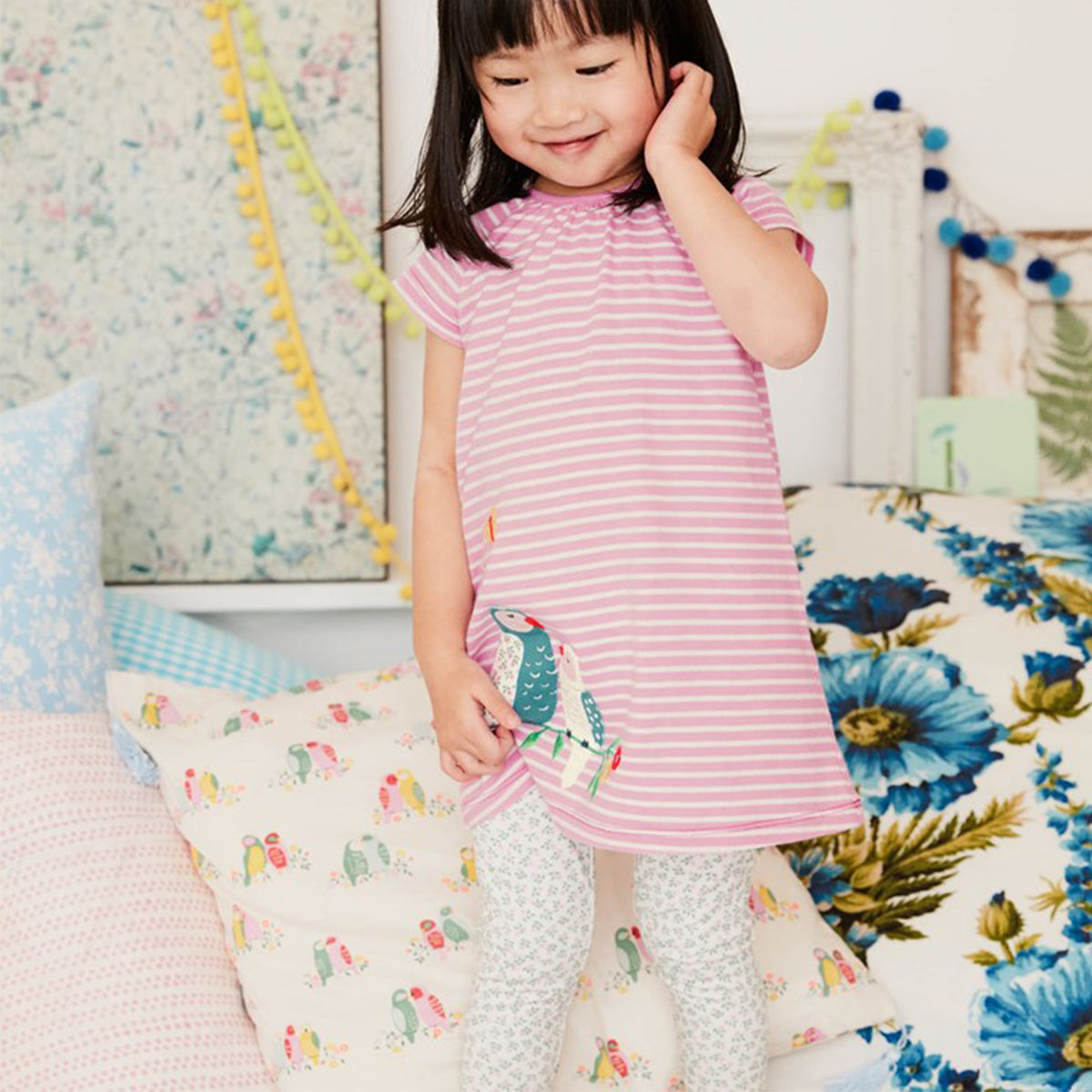 Wrapables Girls Casual Print Cotton Dress Top with Leggings