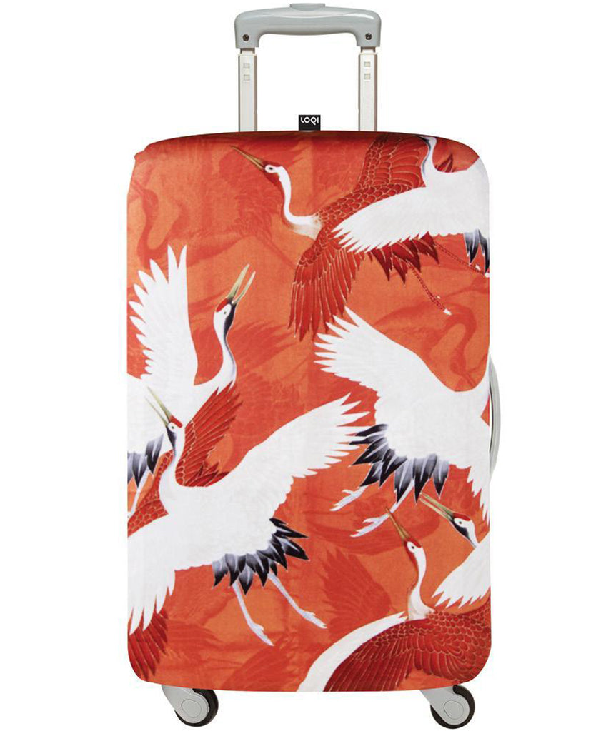 ba6457a33af4 LOQI Museum ANONYMOUS Woman's Haori with Cranes Luggage Cover M