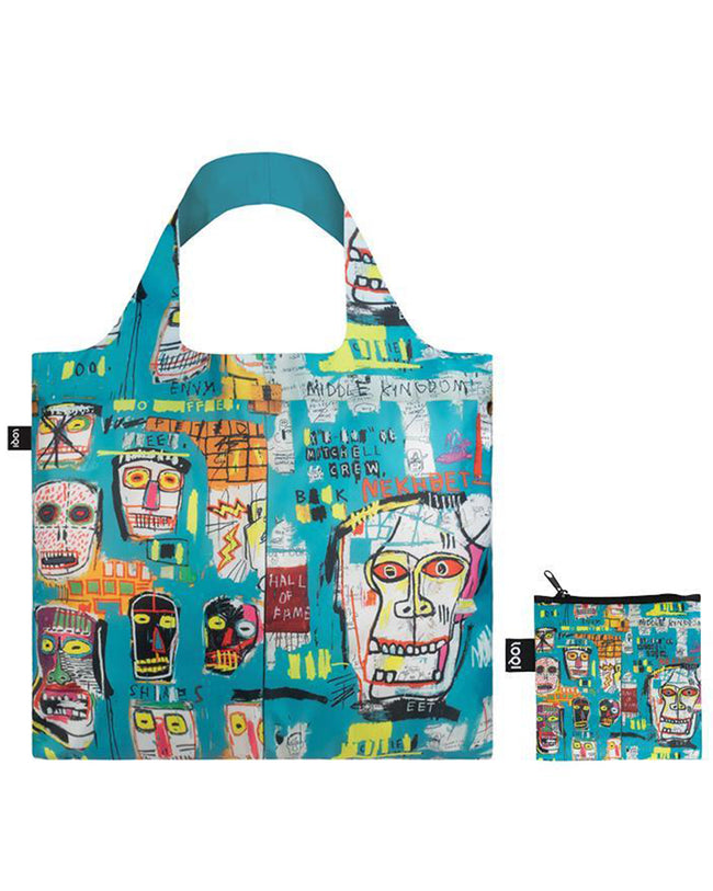 LOQI Museum Jean Michel Basquiat Reusable Shopping Bag (Set of 3), Warhol, Skull, Crown