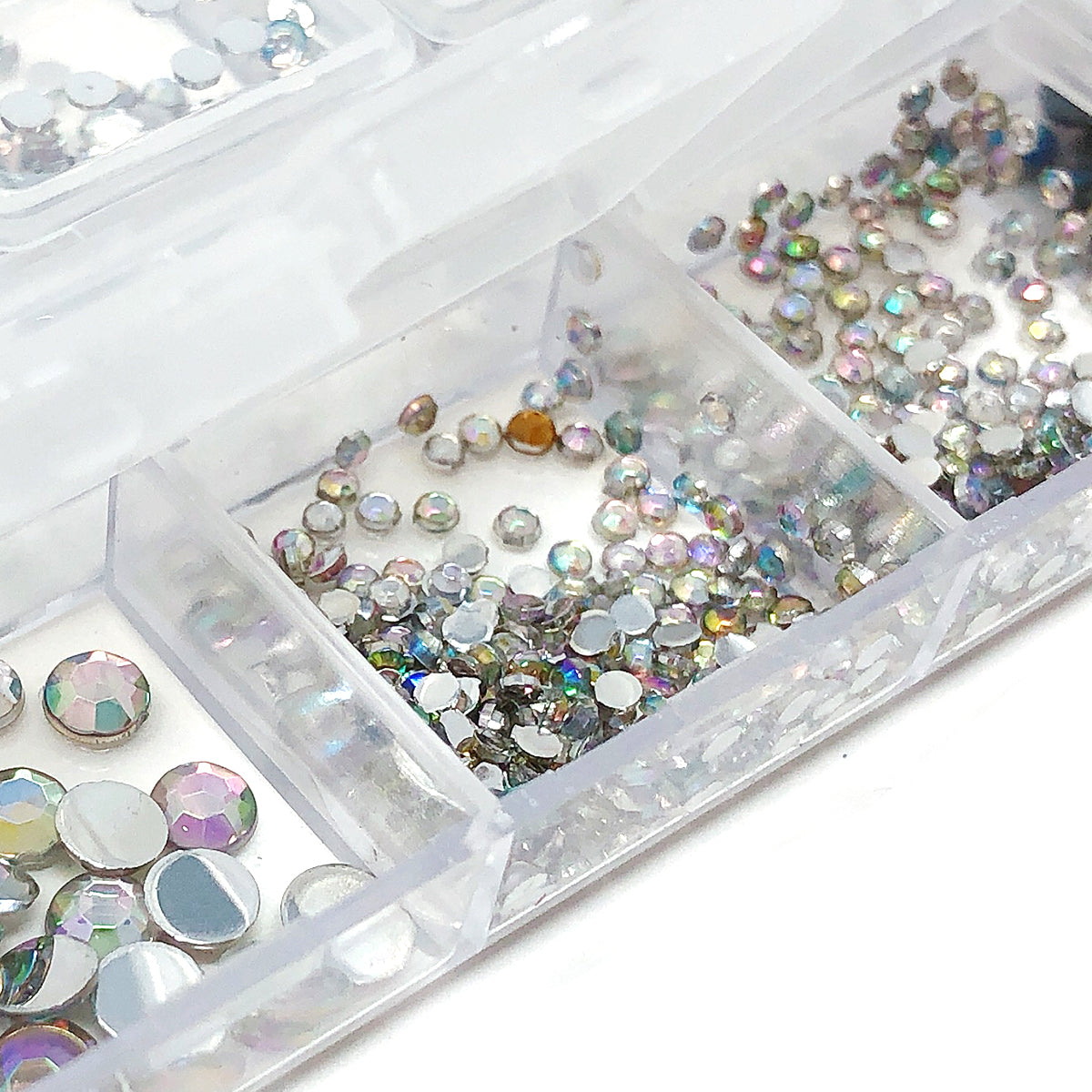 Wrapables Dazzling Nail Art Rhinestones Nail Manicure with Plastic Case, Ivory & Aquamarine