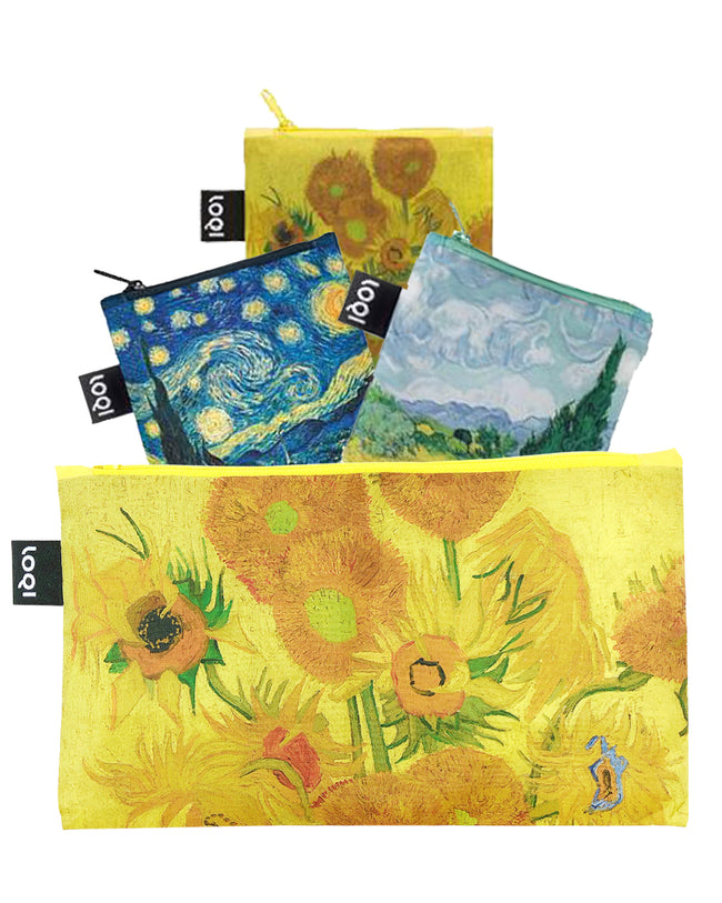 LOQI Museum Reusable Bags with Zip Pocket, Set of 3, Starry Night, Wheat Fields, Sunflowers