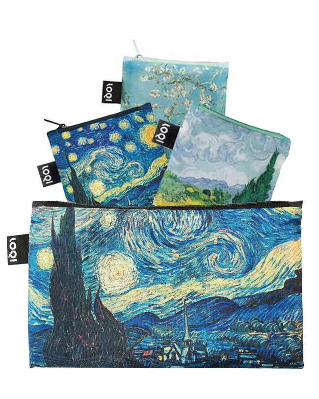 LOQI Museum Reusable Bags with Zip Pocket, Set of 3, Starry Night, Wheat Fields, Almond Blossom