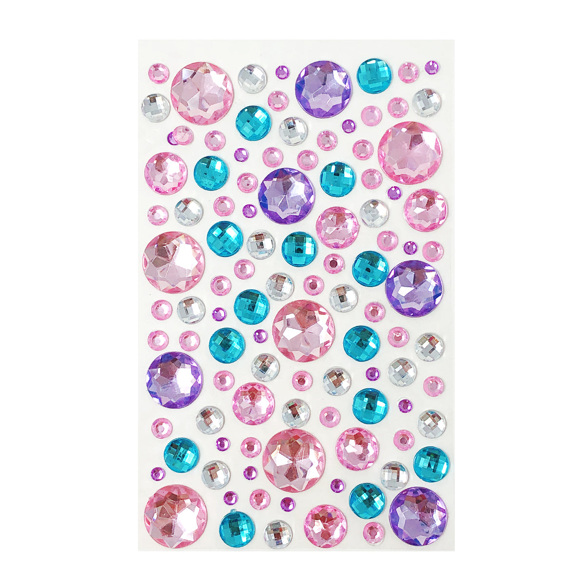 Wrapables Acrylic Self Adhesive Crystal Rhinestone Gem Stickers, Stars Pink Blue Lilac