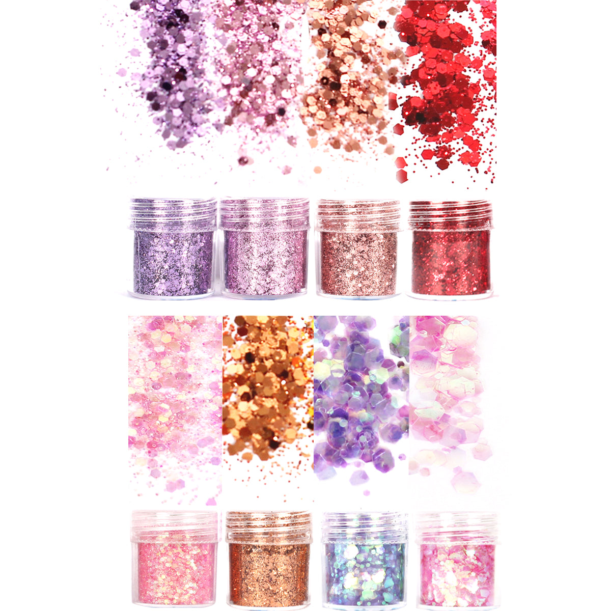 Wrapables Chunky Glitter for Hair Face Makeup Nail Art Decoration (8 Colors), Gold & Silver
