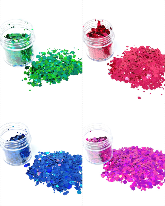 Wrapables Chunky Sparkling Glitter for Hair Face Makeup Nail Art Decoration (8 Colors), Rainbow Star Powder