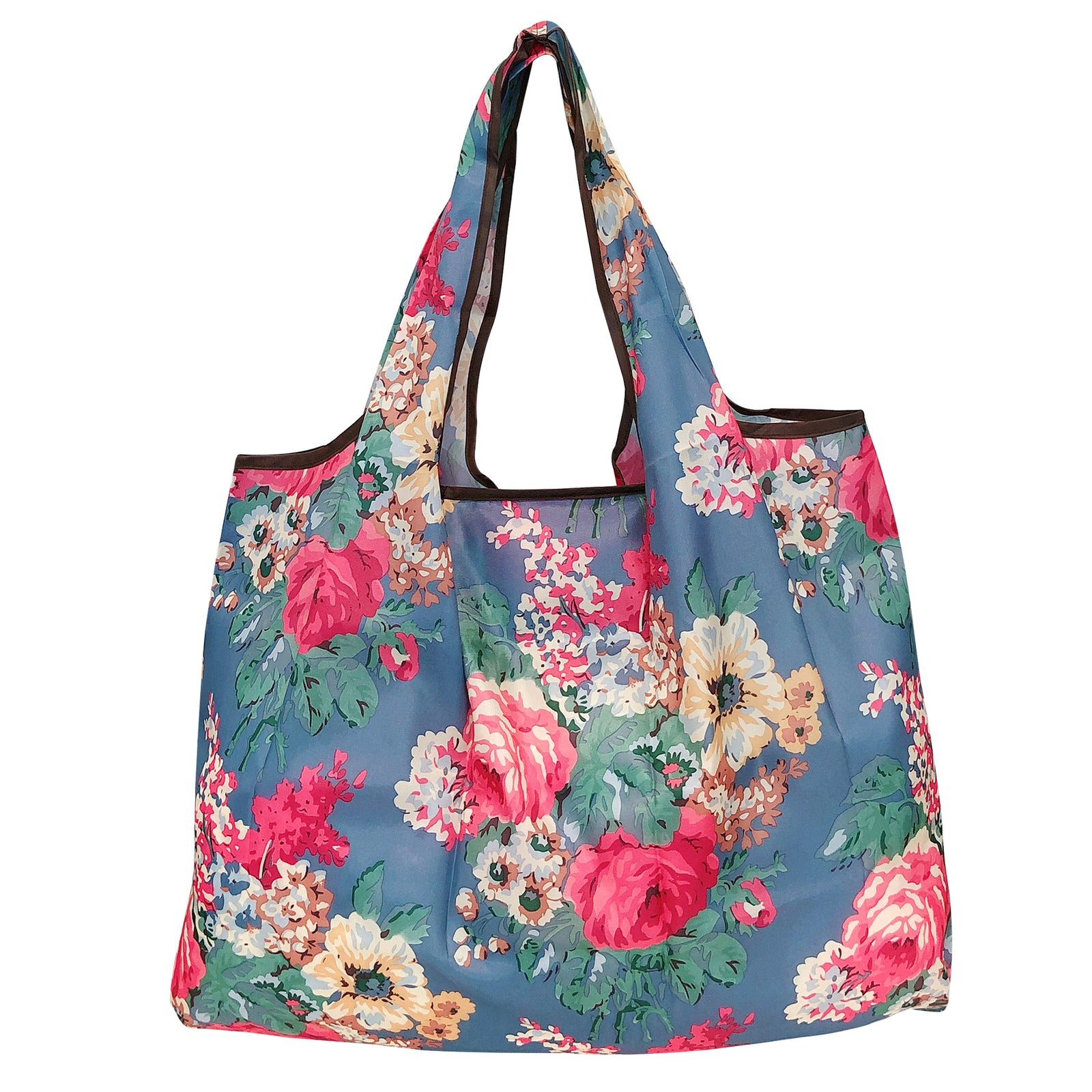 New LOQI Grocery Shopping Reusable TOTE BAG Folding RED WHITE FLOWER FLORAL