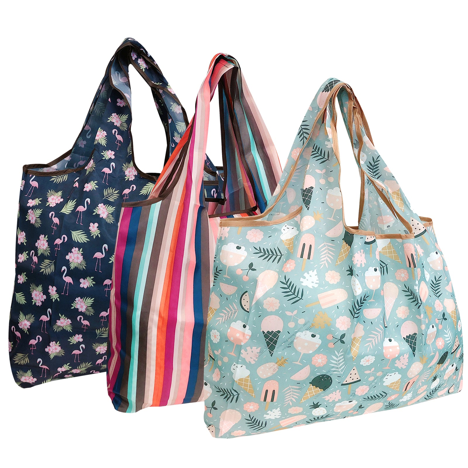 Wrapables Eco-Friendly Large Nylon Reusable Shopping Bags (Set of 3), Summer Fun