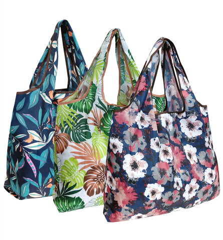 Wrapables Large Reusable Shopping Tote Bag with Outer Pouch (Set of 3)