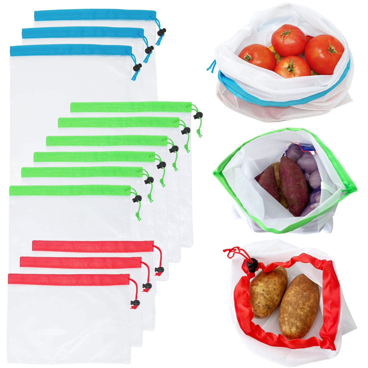 Wrapables Reusable Transparent Mesh Produce Bags (Set of 12)