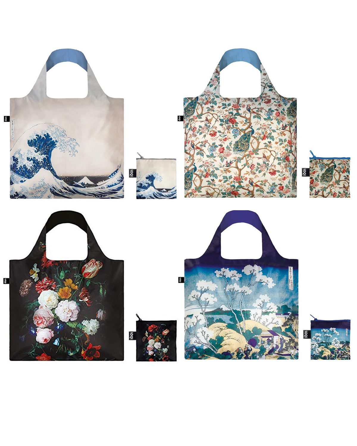 LOQI Museum Collection Pouch Set of 4 Reusable Bags, Japanese & Floral