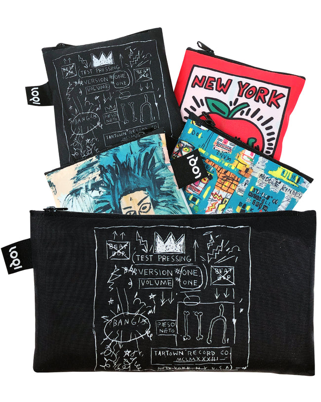 LOQI Museum Collection Pouch Set of 4 Reusable Bags, Basquiat & Haring