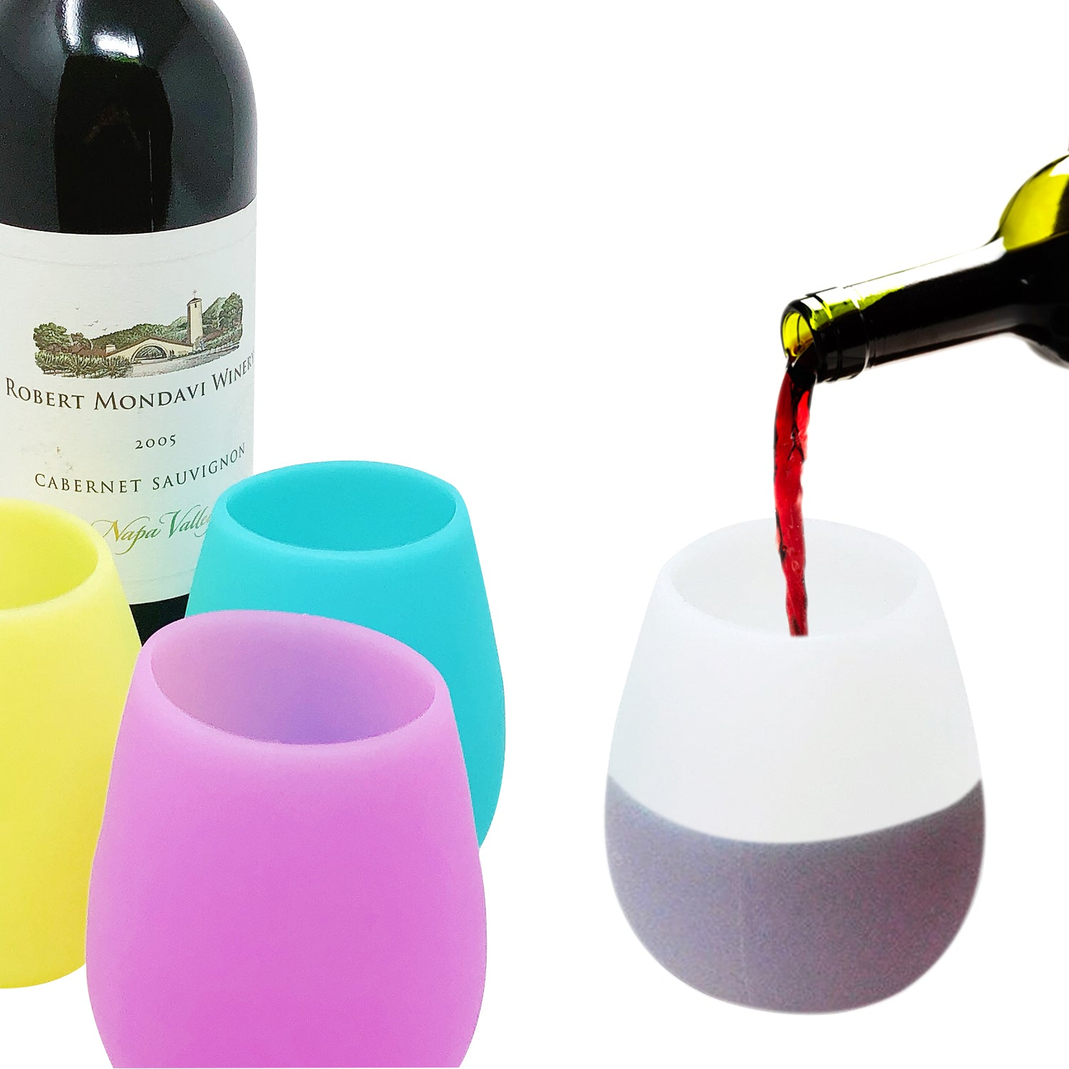 Wrapables Silicone Unbreakable Wine Cups for Camping, Picnic, Poolside, Outdoors (Set of 6)