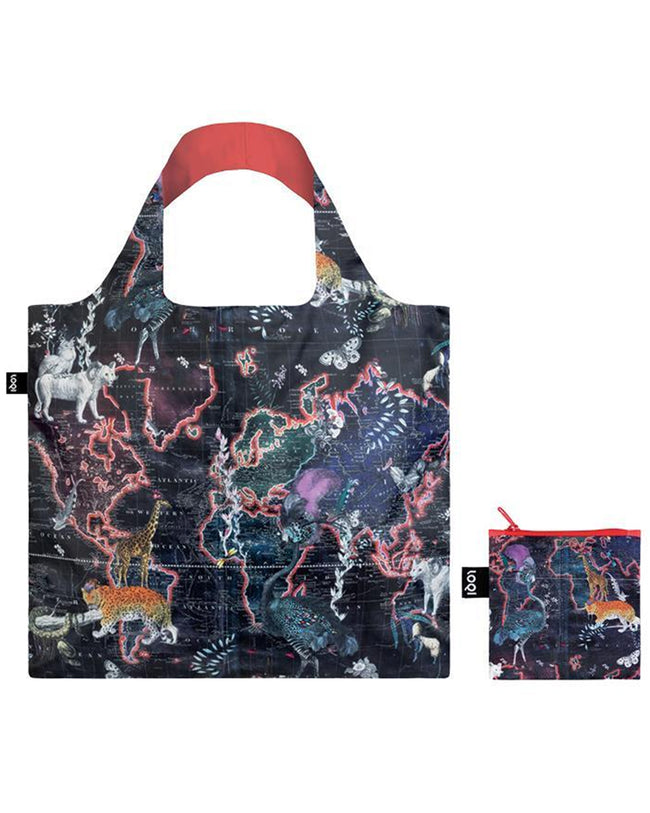 LOQI Artist Kristjana S Williams Interiors World Map Reusable Shopping Bag