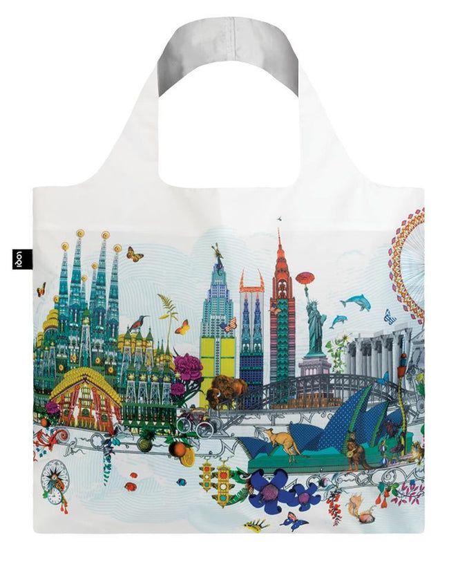 LOQI Artist Kristjana S Williams Interiors World Skyline Reusable Shopping Bag