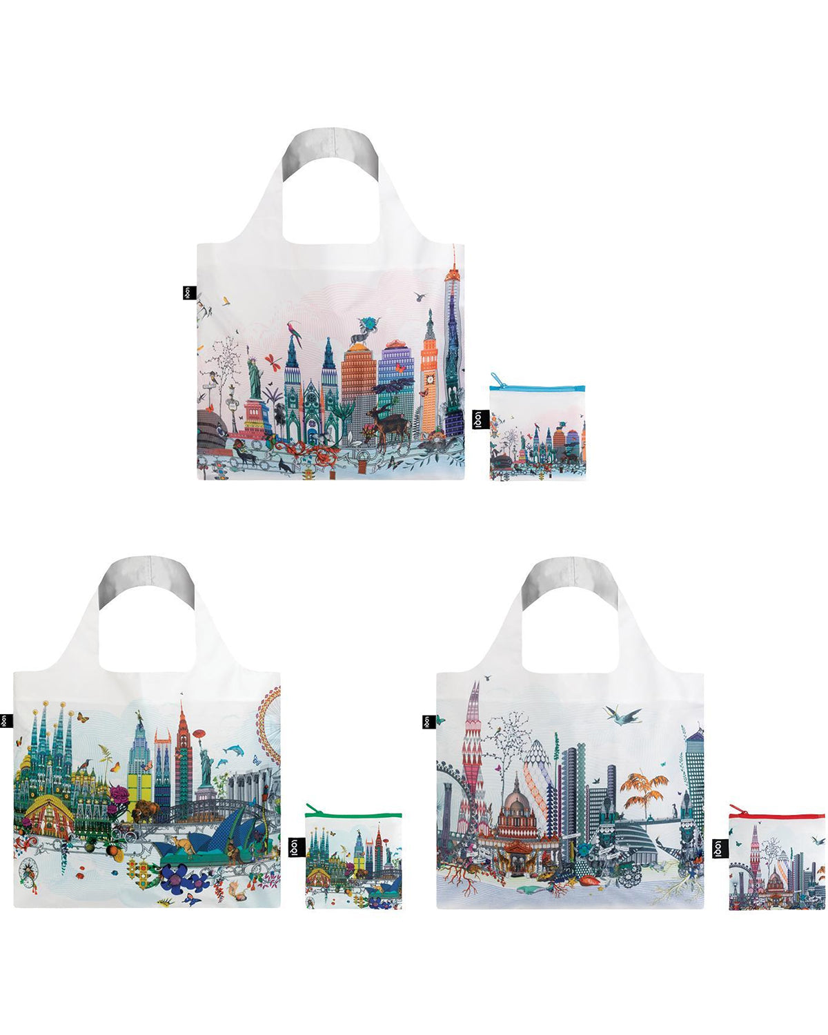 LOQI Kristjana S Williams Interiors Reusable Shopping Bags (Set of 3), New York, London, Skyline
