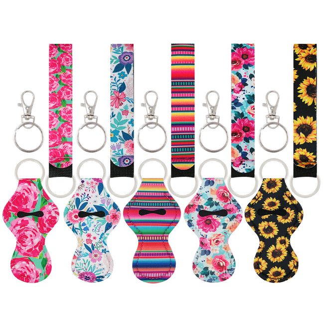 Wrapables 5 Pack Chapstick Holder Keychain with 5 Pieces Metal Clasps & Lanyards