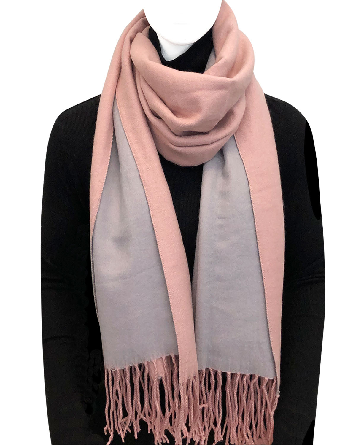Wrapables Soft Cashmere Feeling Wool Blend Scarf, Large Two-Tone Winter Scarf Wrap Shawl