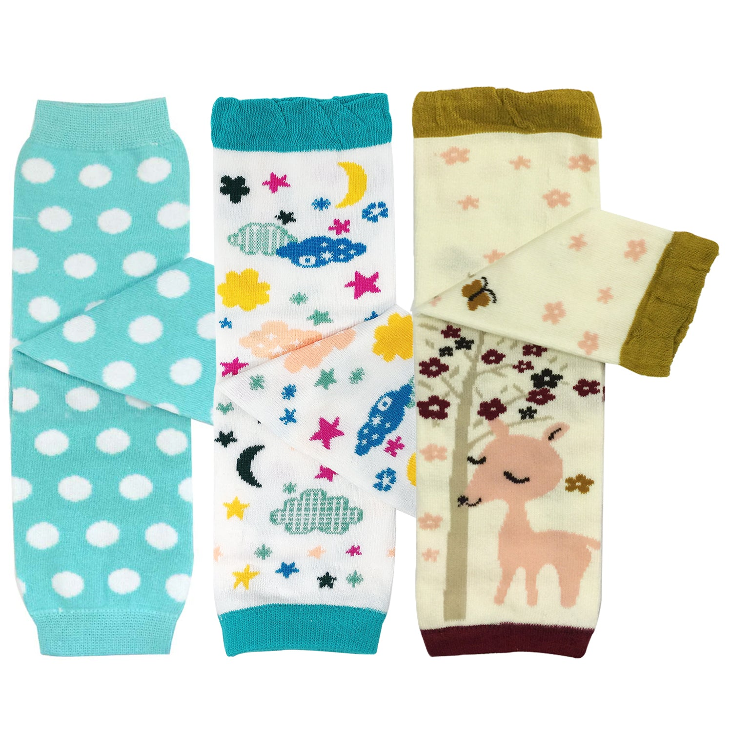 Wrapables Playful Patterns Baby & Toddler Leg Warmers (Set of 3)