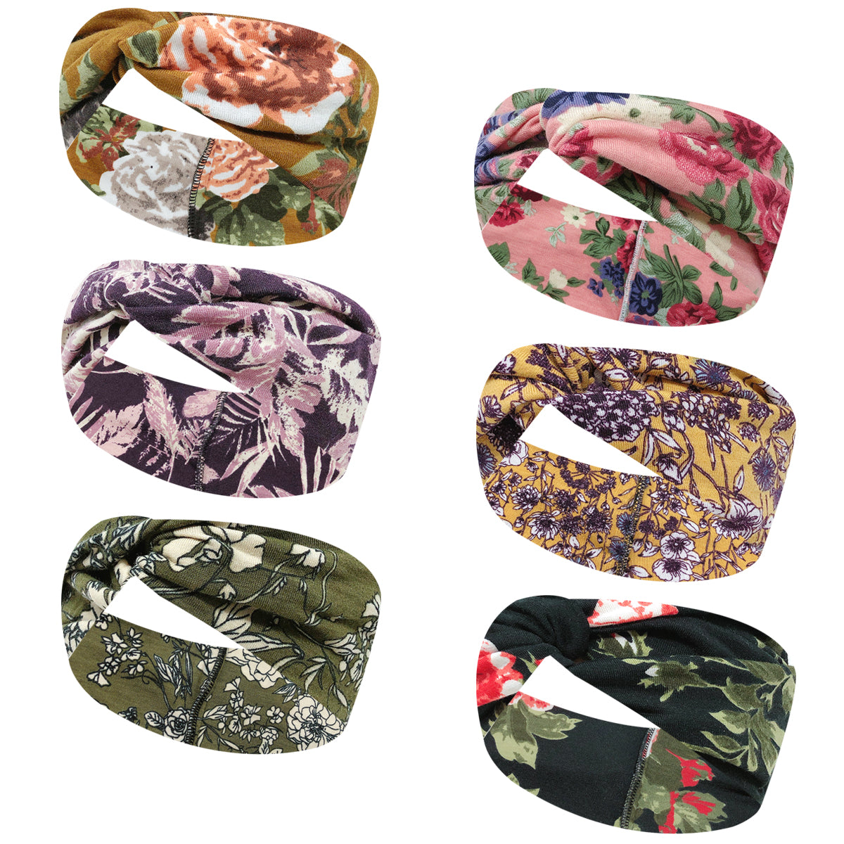Wrapables Boho Vintage Floral Elastic Headbands for Sports, Yoga, Workouts, Facials (Set of 6)