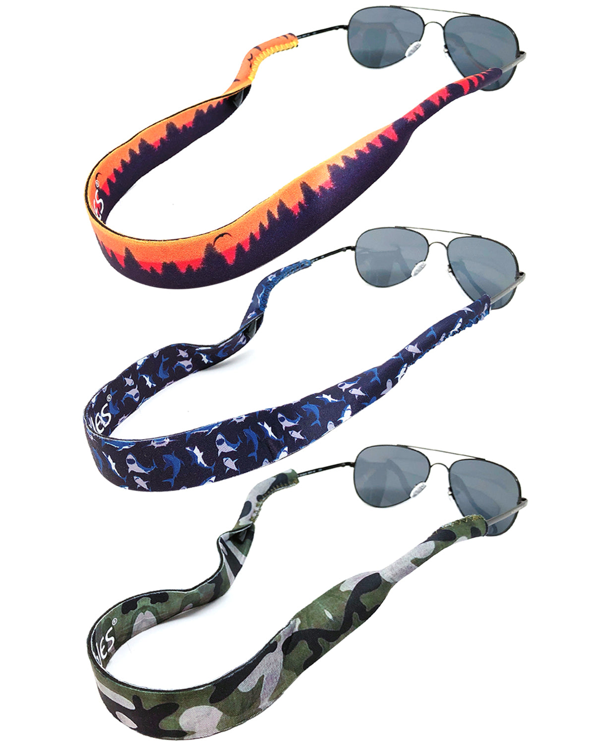 Wrapables Adjustable Eyewear Retainer, Sunglass Strap with Neoprene Floating Material for Sports and Outdoors (Set of 3)