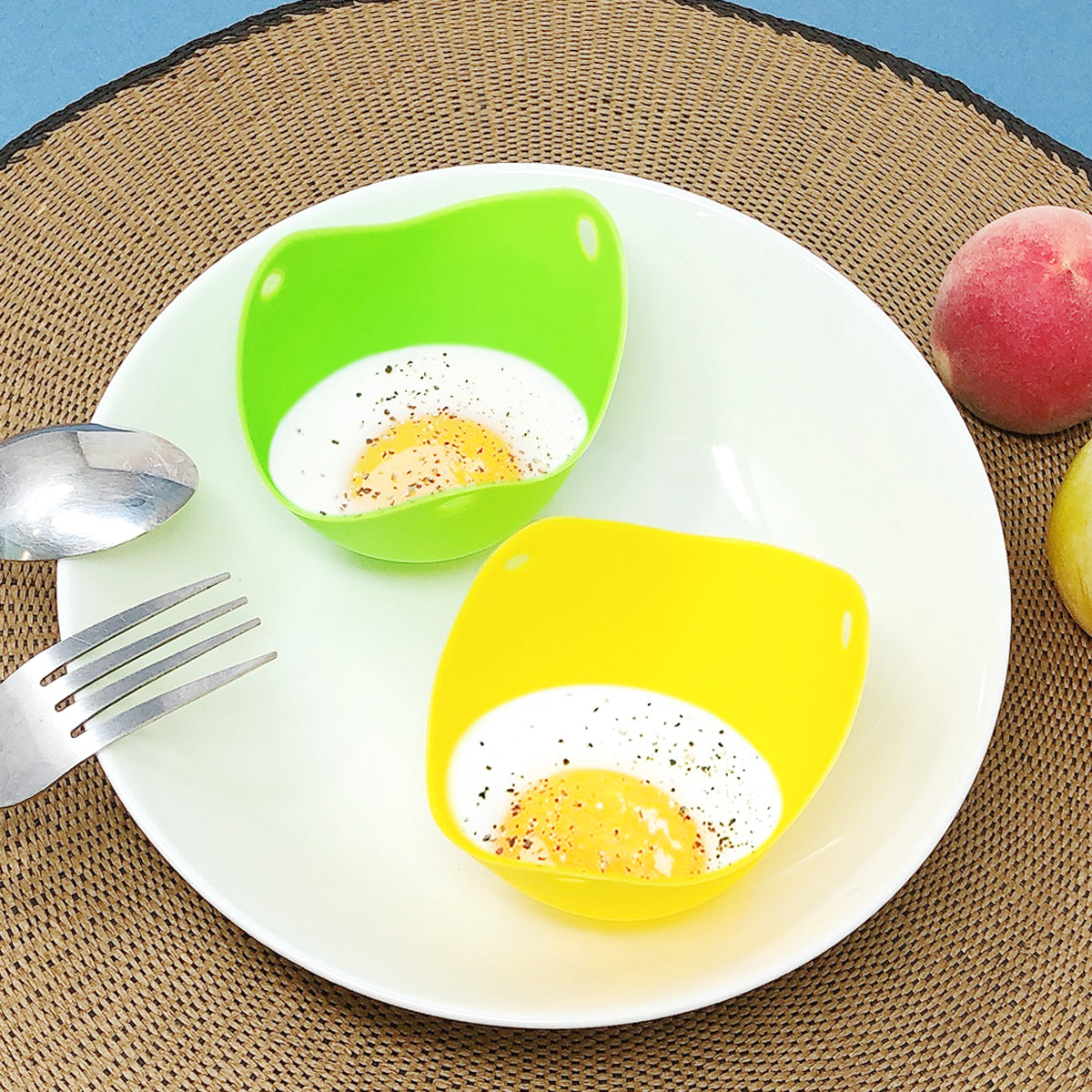 Silicone Non-stick Egg Poachers, Poached Egg Cups for Steaming Microwaving Boiling