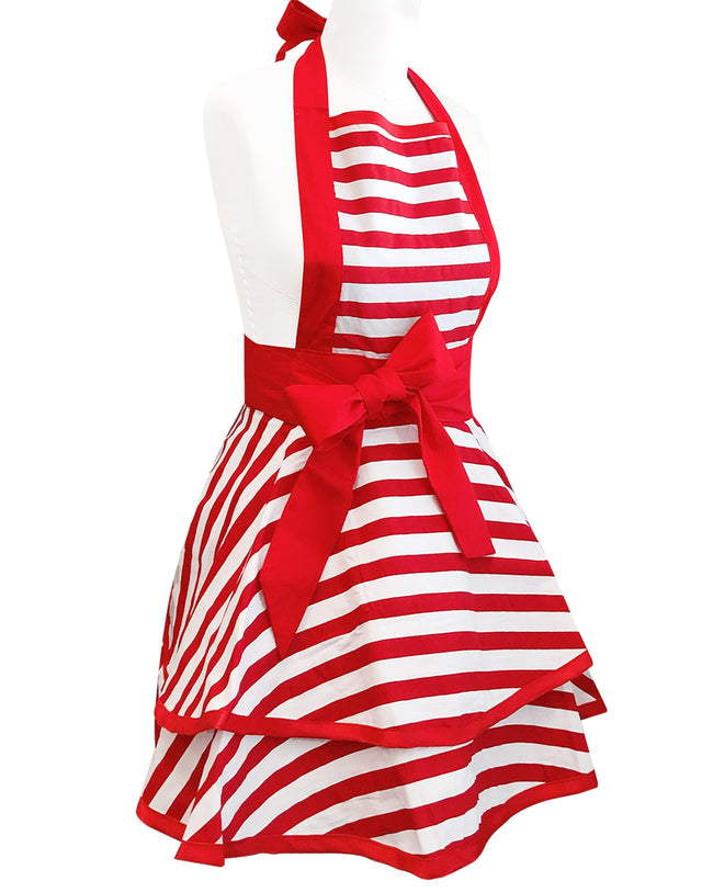 Wrapables Classic Vintage Apron, Sexy Cooking Apron, Red Stripe