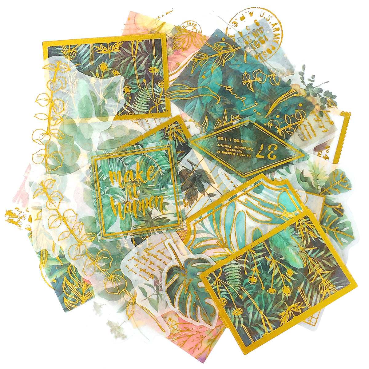 Wrapables Decorative Scrapbooking Washi Stickers, DIY Crafts for Stationery, Diary, Card Making (60 pcs)