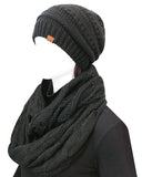 Wrapables Winter Warm Chunky Cable Knit Infinity Scarf and Beanie Set