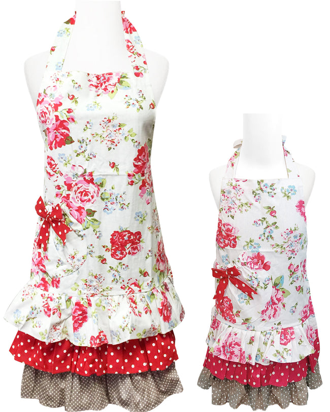 Wrapables Mother and Daughter Ruffles and Roses Apron for Baking, Cooking & Crafts