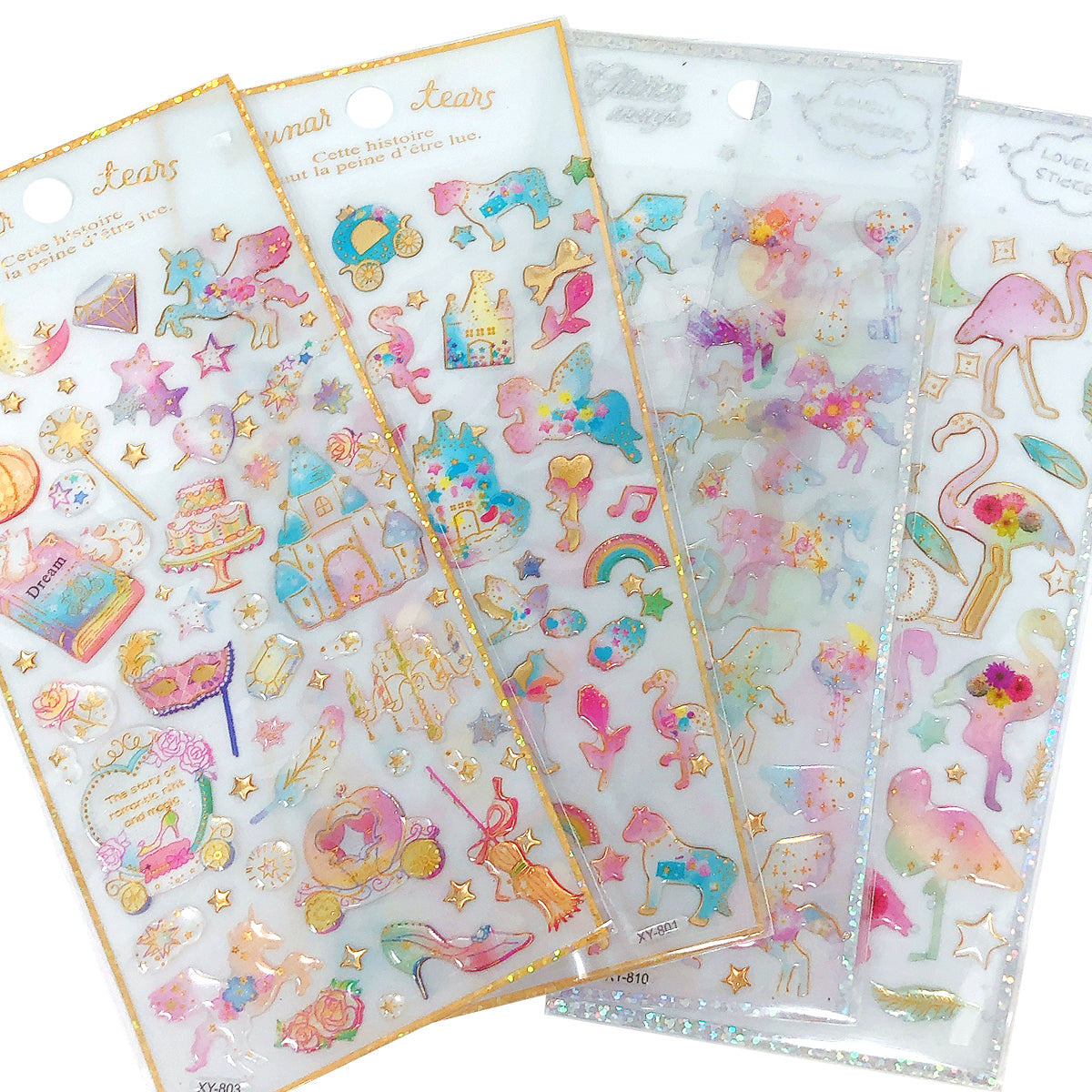 Wrapables 3D Epoxy Stickers for Scrapbooking, Journal, Planner, Decals for Phone or Notebook (4 Sheets)