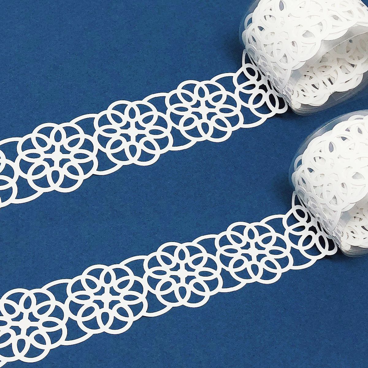 Wrapables Hollow Lace Pattern Washi Masking Tape 2M Length Total (Set of 2)