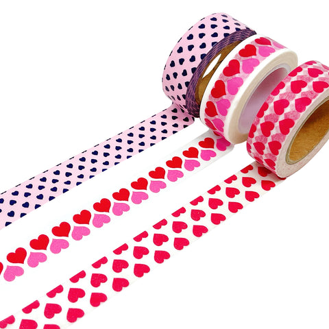 Wrapables Red Hot Hearts Japanese Washi Masking Tape (set of 2)