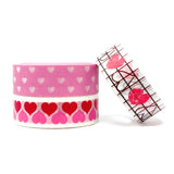 Wrapables Masking Tape Washi Tapes Valentine Hearts Washi Tape Set of 3