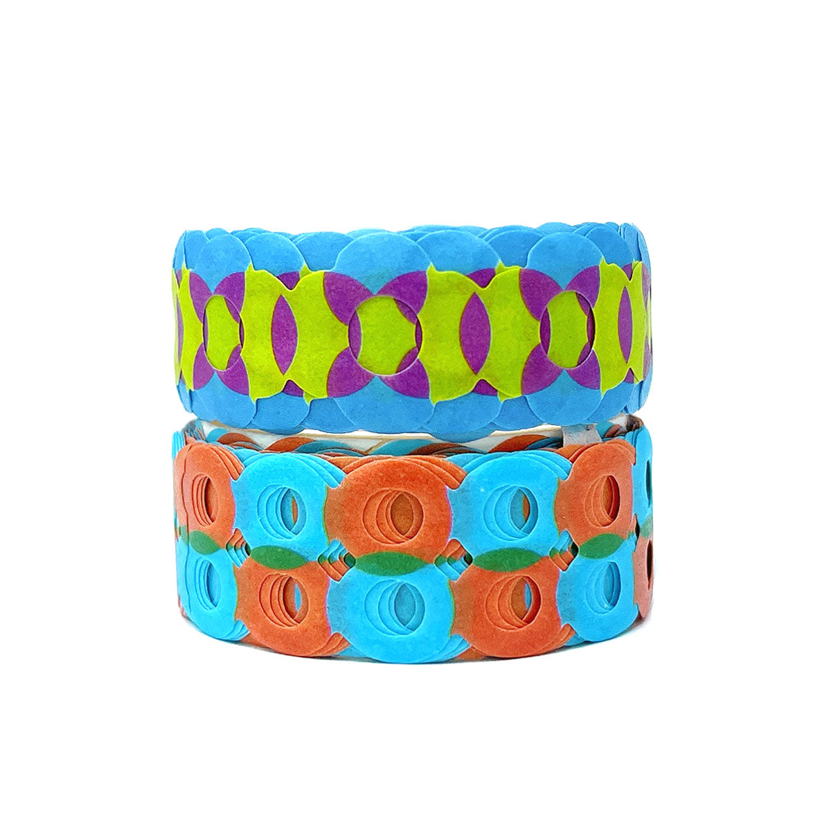 Wrapables Bright Geometric Design Hollow Washi Masking Tape 4M Length Total (Set of 2)
