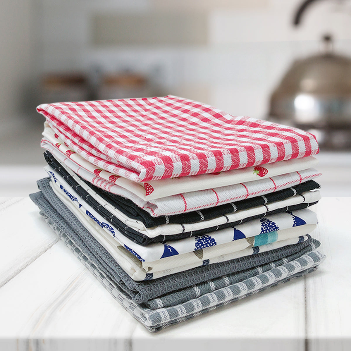 Wrapables® 100% Cotton Kitchen Dish Towels (Set of 3)
